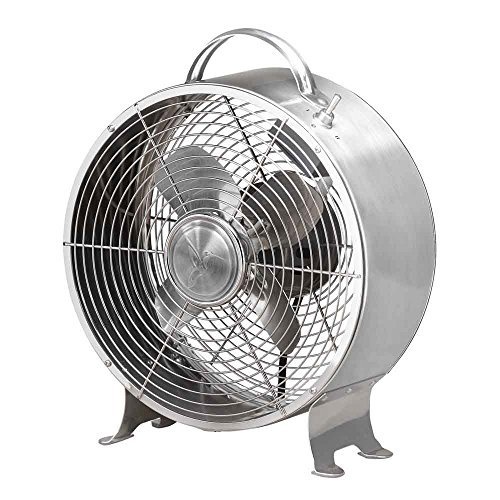 (Deco Breeze Stainless Metal Table Fan, Steel)