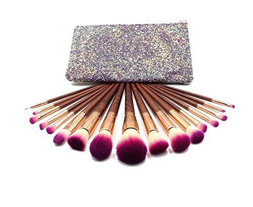 Maquillali Serie Premium: 17 Piezas Brochas Elegantes de Alta Calidad en Color Morada y Madera Natural con Bolsa Cosmética Brillante Glitter.