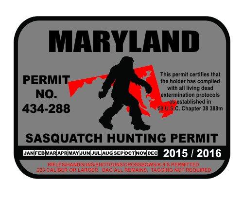 Maryland Sasquatch Hunting Permit License Bigfoot Vinyl Sticker Decal