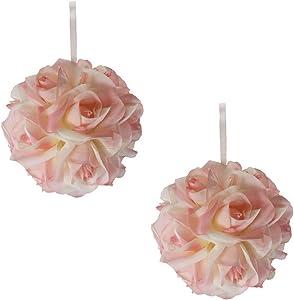 Garden Rose Kissing Ball - Pink - 6 Inch Pomander