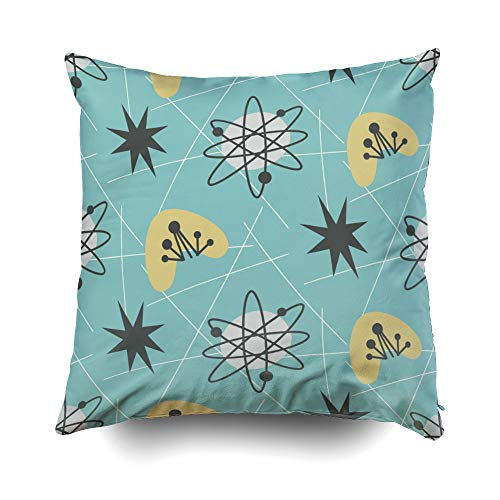 Musesh X'Mas Mid Century Modern Pattern Vintage Style Atomic Cushions Case Throw Pillow Cover for Sofa Home Decorative Pillowslip Gift Ideas Household Pillowcase Zippered Pillow Covers 18X18Inch