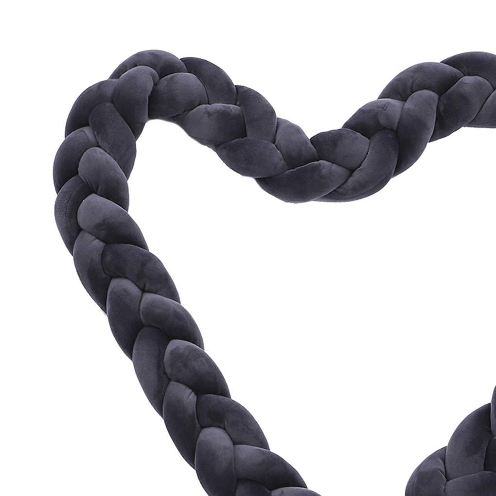 Busirde B/éb/é Tress/é Lit Bumper Twisted Lit Circumference Knot Oreiller Bande Stripe Coussin Coussin Longue Nursery Literie Blanc 1