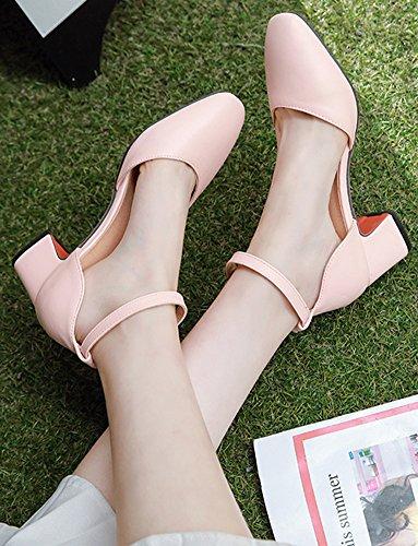 Idifu Moda Para Mujer Tobillo Correa Square Toe Mid Chunky Heel Nupcial Bombas Zapatos Rosa