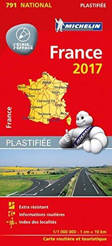 Michelin Frankreich 2017 (plastifiziert): Straßen- und Tourismuskarte 1:1.000.000 (MICHELIN Nationalkarten, Band 791)