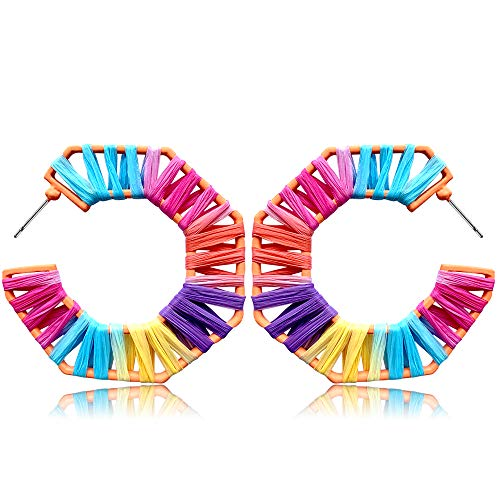 Statement Earrings Beaded Raffia Palm Bohemian Drop Dangle Earrings for women (G-CS) ()