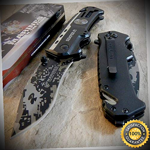 (USMC Marines Semper Fi Spring Assisted Open CAMO Folding Pocket Knife - outdoor for camping hunting)