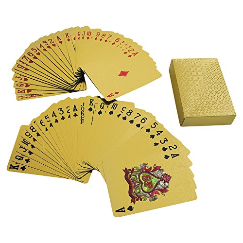 - YH Poker Luxury 24K Gold Foil Plated Playing Cards, Bridge Size, Geometric Back Design