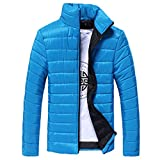 WUAI Clearance Men's Casual Warm Lightweight Stand Collar Slim Winter Water-Resistant Down Jacket(Blue,US Size L = Tag XL)