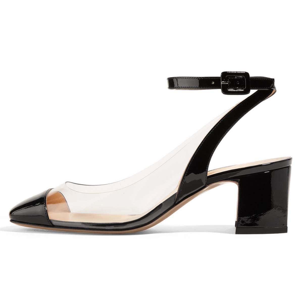 828fe3dc113 Amazon.com | FSJ Women Round Toe High Block Heel Ankle Strap PVC ...