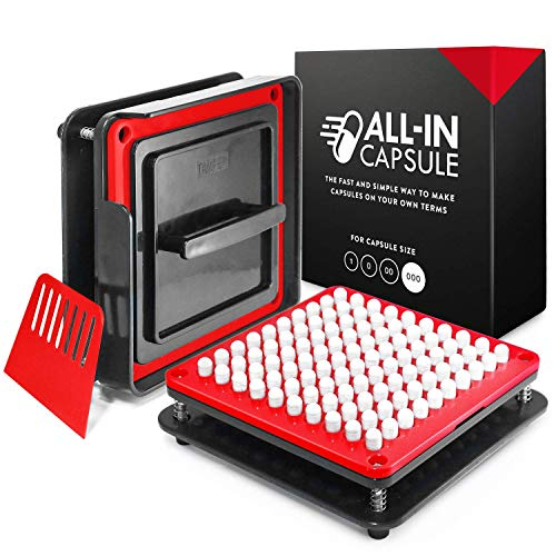 000 Capsules - ALL-IN Capsule Filling Machine for Size 000 - Make Your Own Capsules Now Easier and Faster - Use With Empty Gelatin or Vegetarian Caps - Clear Illustrated Instructions With Video