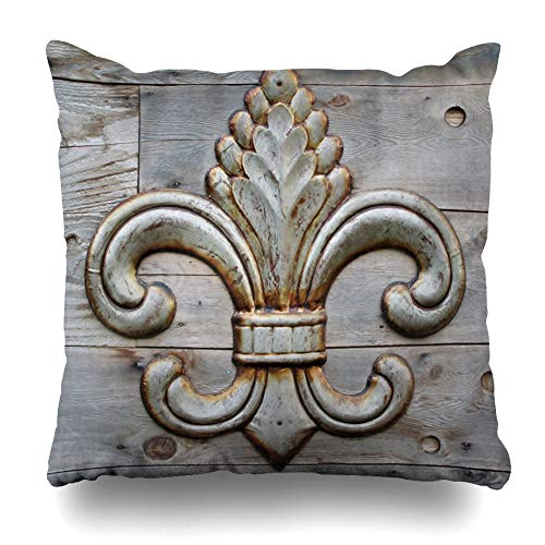 AileenREE Throw Pillow Covers Pattern Orleans Tin Fleurdelis Detail Fleur Vintage De Lis Iron Flower Insignia Pillowcase Square Size 18 x 18 Inches Home Decor Cushion Cases