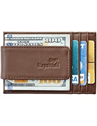 Genuine Magnetic Napa Leather Front Pocket Money Clip Slim Minimalist Wallet Made with Powerful RARE EARTH Magnets Plus RFID Blocking