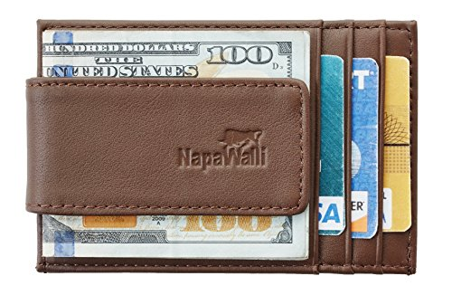 NapaWalli Genuine Magnetic Napa Leather Front Pocket Money Clip Slim Minimalist Wallet Made with Powerful RARE EARTH Magnets Plus RFID Blocking (napa brown)