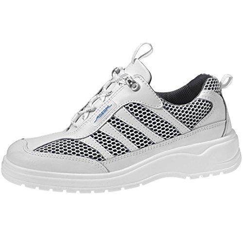 Abeba 1158 - Zapato de trabajo (CE EN ISO 20347:2012 O1 FO SRA, piel, previene la aparición de bacterias, antiestático), color blanco blanco - blanco