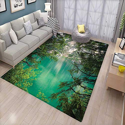 Lagos Rope - Landscape Girls Bedroom Rug Mountain Lake Lago di Braies in Italy Mountain View with Fresh Pine Trees Bath Mats for Floors Teal Green Ivory