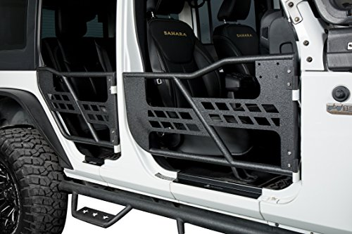 Solid Steel Front & Rear Tube Half Door Guards for 2007-2018 Jeep Wrangler JK Unlimited (4-Door) Sport Rubicon Sahara
