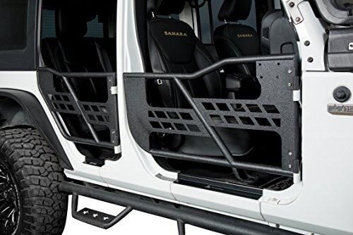 Solid Steel Front & Rear Tube Half Door Guards for 2007-2018 Jeep Wrangler JK Unlimited (4-Door) Sport Rubicon Sahara ()