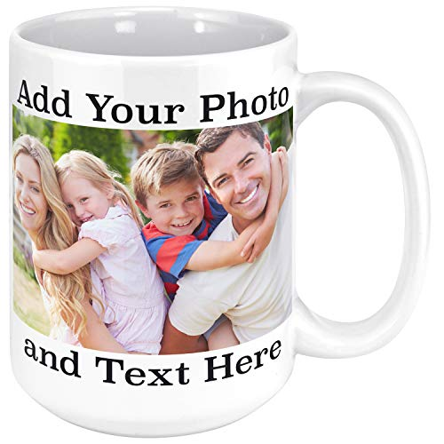 Personalized Mug With Photo - Customizable 15oz Ceramic Personalized Coffee Mug, Add Picture, Text, Logo To Your Custom Mugs - Personalized Gifts, Monogrammed Custom Mugs With Pictures, Funny Gifts (Coffee Mugs Logo With)