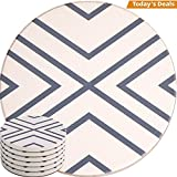 Absorbent Coasters For Drinks - Grey Lines On LARGE Ceramic Stone With Cork Backing, Drink spills Thirsty Coaster Set of 6 No Holder, OVERSIZE BETTER Protects Furniture From Damage