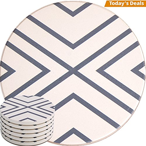 (Absorbent Coasters For Drinks - Grey Lines On LARGE Ceramic Stone With Cork Backing, Drink spills Thirsty Coaster Set of 6 No Holder, OVERSIZE BETTER Protects Furniture From Damage)