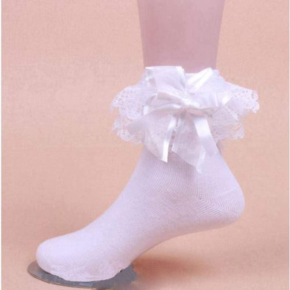 6 Paia Bambine Scuola Cotone Pizzo Calze Frilly Pizzo Calzini Alla Caviglia Tutte Le Dimensioni