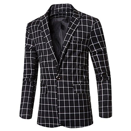 Sndofej männer wie Slim - Karierten Anzug herrenanzüge EIN langärmliges Gelegenheits - Anzug,schwarz,XL