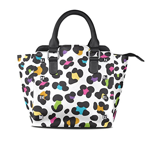 TIZORAX Bags Leather TIZORAX Leopard Tote Colorful Colorful Handbags Women's Shoulder fZ1qFfr