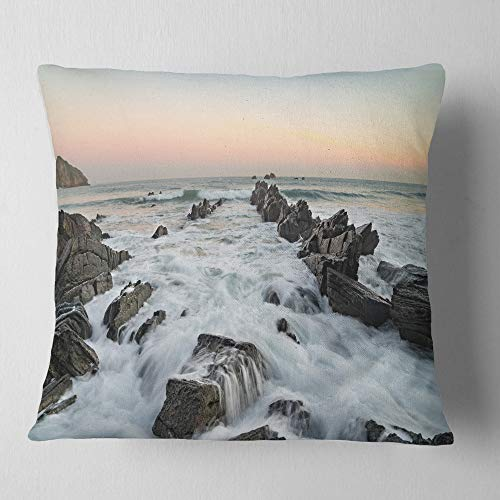 Designart CU10909-26-26 Bay of Biscay Atlantic Coast Spain' Landscape Printed Throw Cushion Pillow Cover for Living Room, Sofa, 26 in. x 26 in, Pillow Insert + Cushion Cover Printed on Both Side by Designart