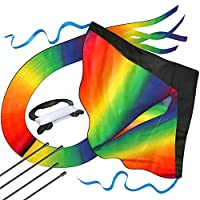 aGreatLife Huge Rainbow Kite para niños - Uno de los juguetes para juegos y actividades al aire libre - Un buen plan para una memorable diversión de verano - Este kit de magia viene con