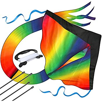 Huge Rainbow Kite For Kids - One Of The Best Selling Toys For Outdoor Games and Activities - Good Plan For Memorable Summer Fun - This Magic Kit Comes w/ 100% Satisfaction