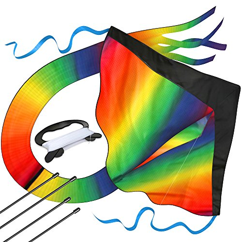 aGreatLife Huge Rainbow Kite for Kids for Outdoor Games and Activities - Nylon Stunt Kite