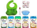 Gerber Organic Baby Cereal - ORGANIC Rice Cereal, ORGANIC Oatmeal Cereal, DHA Probiotics, Barley, Bundle of 5 Flavors, Silicone Baby Bib