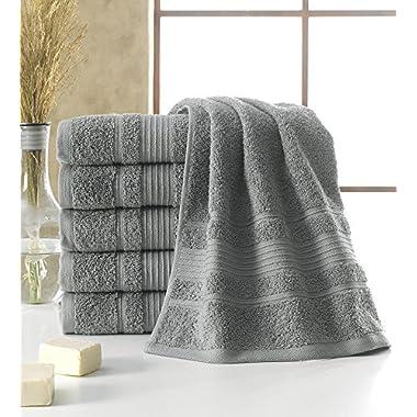 Berrnour Home Solomon Collection 6-Piece Set of Grey Bordered Design 16  X 30  100% Turkish Cotton Luxury Hand Towel