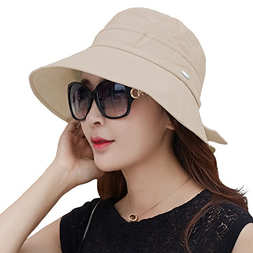 Womens Packable Canvas Sun Bucket Hat for Women with String SPF Protection Bonnie Khaki Beige 56-58cm