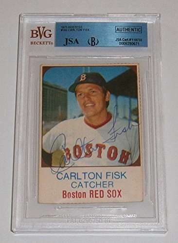 1975 RED SOX Carlton Fisk signed card Hostess Slabbed AUTO Autographed HOFer - JSA Certified - Baseball Slabbed Autographed Cards - 1975 Hostess Baseball