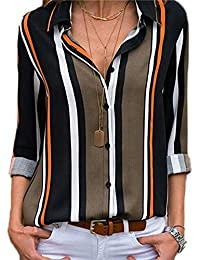 CAIYING Womens V Neck Stripes Long Sleeve Button Down Casual Blouses Tops