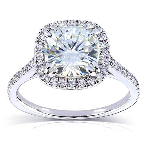 - Forever One (D-F) Moissanite Engagement Ring 2 1/4 ctw 14k White Gold, Size 6