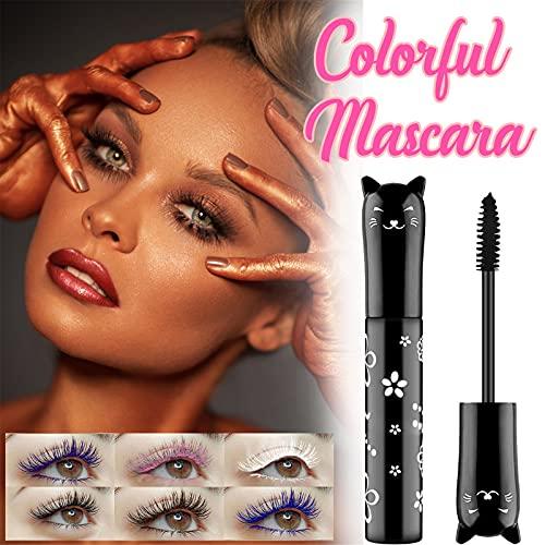 Sakoid New Colorful Mascara Rainbow Fiber Mascara Charming Longlasting Thick & Long Eyelash Waterproof and Smudge-Proof Eyes Makeup Gift For Women and Girls Pack of 1, Silk Fiber Color Mascara (Black)