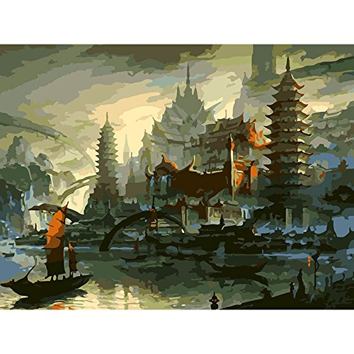 (JynXos framed Pagoda Abstract Landscape DIY Painting By Numbers Vintage Oil Painting On Canvas Home Decor Unique Gift Wall Artwork)