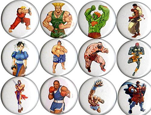 Street Fighter II set of 12 pins/buttons/badges 1""