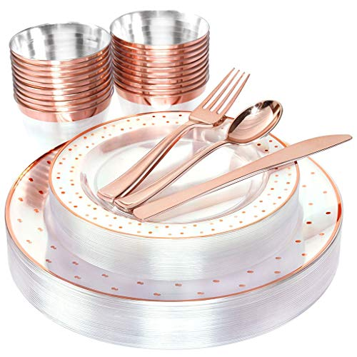 BUCLA 25guest Rose Gold Plastic Plates with Disposable Plastic Silverware&9oz Cups- Dot Plastic Dinnerware include 25 Dinner Plates, 25 Salad Plates, 25 Forks, 25 Knives, 25 Spoons,25Cups (Dinnerware Dot Gold)