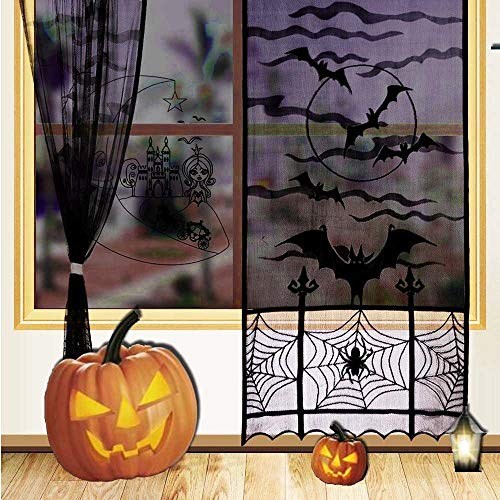Aisikasi Halloween Decorations 2 Pack Thanksgiving Spooky Lace Curtain Panel Spider Web Bats Door Curtain Panel Decor for Spooky Halloween Holiday Party Decoration by Aisikasi
