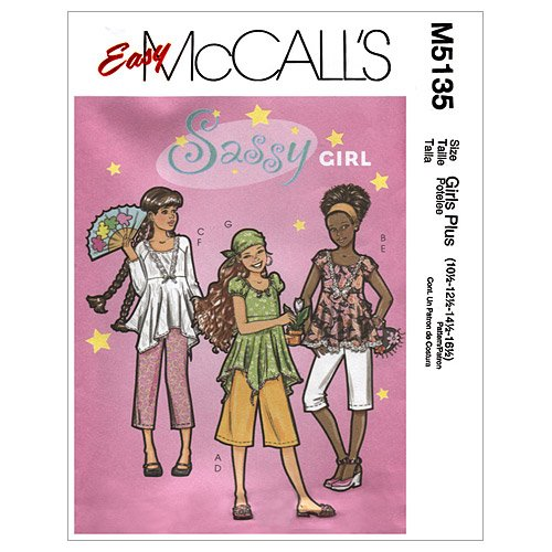 mccalls-patterns-m5135-girls-girls-plus-tops-gaucho-pants-and-head-scarf-size-pls-10-1-2-12-1-2-14-1