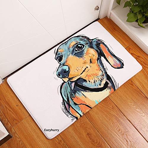 eazyhurry YJ Bear Thin Long Ear Puppy Dog Pattern Floor Mat Coral Fleece Home Decor Carpet Indoor Rectangle Doormat Kitchen Floor Runner 16