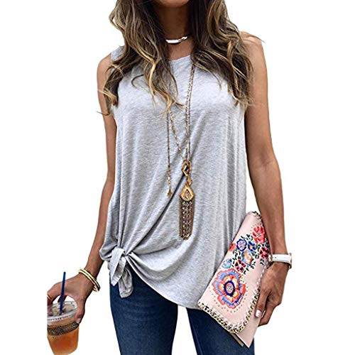 - QIQIU Womens Knot Sleeveless Vest Summer New Side Knot Cold Shoulder Tunic Shirt Fashion O Neck Tank Top Blouses Grey