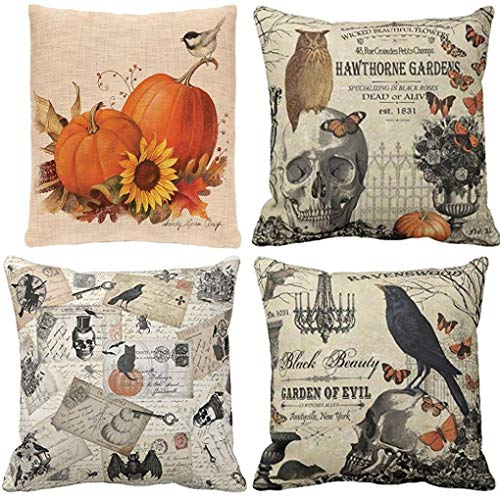 Halloween Colorful Pillow Cover Cases,Longaoa Home Decor Pillow Case Waist Cushion Bedroom Throw Pillow Covers 18 x 18 Inch,12x 20Inch (4PC,18''x18'', Multicolor A B C D(Four by Longaoa Pillowcases