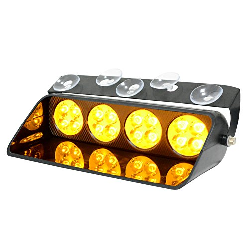WOWTOU Emergency Amber Dash Lights, 16 LEDs 15 Flashing with Steady-Burning Modes Warning Strobe Lighting for Volunteer Fire Fighter EMT EMS POV (Audible Strobe Light)