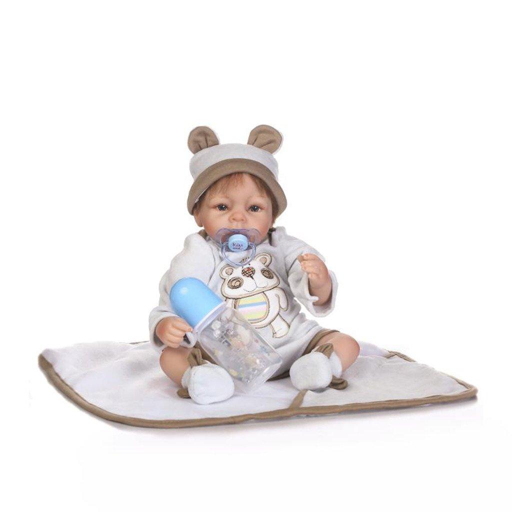 NPKDOLL Reborn bebé muñeca suave Simulación Silicona Vinilo 16 (38–42 cm) realista Cute Girl con falda ojos abiertos Mohair manta rosadodress magnético chupete cómodo 42-5ES