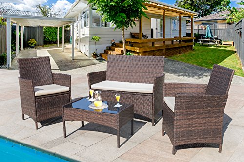 Homall 4 PCS Outdoor Patio Furniture Set Rattan Chair Wicker Set,Outdoor/Indoor Use for Backyard Porch Garden Poolside Balcony with Beige Cushion (Brown)