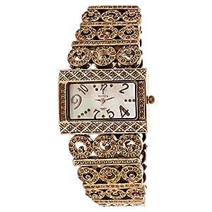Black Royale Women's White Dial Brass Band Watch - 10546LSBB